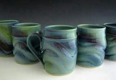 Aurora Borealis Mug - seaweed swooped over blue midnight or blue rutile