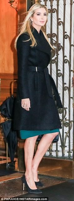 ab55284d5e67 Future First Daughter  The donned a black wrap coat from the eponymous  collection over her green pencil dress