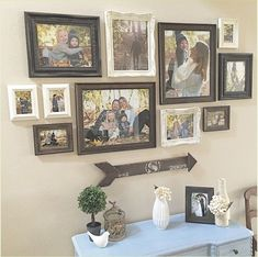 Frame Wall Collage, Photo Wall Collage, Frames On Wall, Picture Collages, Picture Frames, Family Wall Collage, White Frames, Picture Ideas, Farmhouse Wall Decor