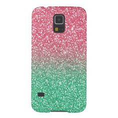 Beautiful girly pink green faux glitter effects galaxy s5 covers
