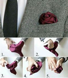 How To Fold a Pocket Square: The Flower Fold Valentine's Day men Sharp Dressed Man, Well Dressed Men, Pliage Pochette Costume, Pocket Square Folds, Mens Pocket Squares, Pocket Square Styles, How To Pocket Square, Men Style Tips, Suit And Tie