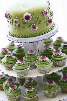 """Cupcake wedding cakes are a great alternative to traditional wedding cakes. These wedding """"cakes"""" are really just cupcakes displayed . Pretty Cakes, Beautiful Cakes, Amazing Cakes, Cupcake Tower Wedding, Wedding Cakes With Cupcakes, Tea Cupcakes, Cupcake Towers, Flower Cupcakes, Space Cupcakes"""
