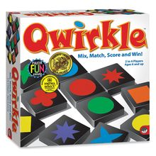 Qwirkle is as simple as matching colors and shapes, but this game also requires tactical maneuvers and well-planned strategy. Earn points by building rows and columns of blocks that share a common shape or color. Look for opportunities to score big by placing a tile that touches multiple pieces with matching attributes. The player with the most points wins! 108 wooden blocks. 2 to 4 players.