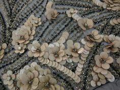 Details | Cascading Beige Floral Design With Crystals on Black Tulle