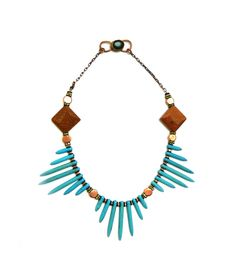 """Eleuia"" necklace by POUND jewelry with turqouise howlite spikes and sandstone."