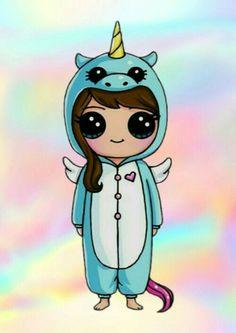 Drawing Tips unicorn drawing Kawaii Disney, 365 Kawaii, Cute Kawaii Girl, Cute Cartoon Girl, Kawaii Art, Disney Disney, Kawaii Girl Drawings, Cute Disney Drawings, Cute Easy Drawings