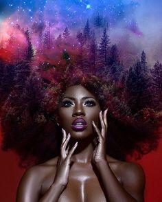 Pierre Jean-Louis probeert als Amerikaanse kunstenaar de schoonheid van de Afrikaanse vrouw extra in de verf te zetten door een associatie met de kosmos.
