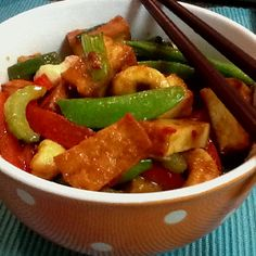 marinated tofu and vege stir fry!