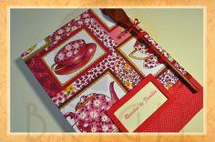 """Hand bound book - Bookbinding - Encadernação artesanal -Estúdio Brigit: Livro de Receitas """"Chá com Bolinhas"""" (Cookbook """"Te..."""