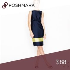 """NWT J.crew collection colorblock silk dress NWT color is navy and yellow bust 34""""length 38""""hip 34"""" the length of the line as pic 3 shows is 26"""" J. Crew Dresses"""