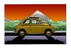 Fiat 500 e un gattino (By squidology on Tumblr) www.fiat500nelmondo -il portale dei cinquecentisti artistici!