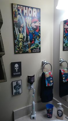 Marvel Superhero Bathroom Thor Corner With Punisher Man Cave Kids