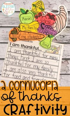 Cornucopia of Thanks Craftivity Use this fun craftivity to get students writing about what they are thankful for! This also makes a great display for the hallway! Keywords: thanksgiving activity, than 1st Grade Crafts, 1st Grade Activities, Writing Activities, Writing Skills, Thanksgiving Writing, Thanksgiving Preschool, Thanksgiving Quotes, Thanksgiving Appetizers, Second Grade Writing
