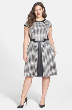 Houndstooth Fit & Flare Dress (Plus Size)