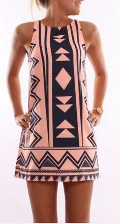 Pink Tribal Geo Print Sleeveless Shift Dress