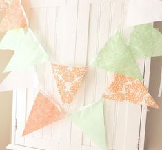 Coral Pink, White and Teal Wedding Bunting Flag