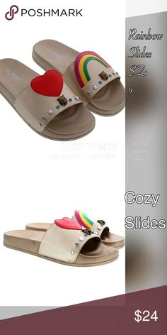 "Gold Rainbow 🌈 Slides Rainbows 🌈 and Hearts ♥️ perfect match for fun in the sun! These cozy slides have darling appliqués to add a delight to your day! Company size chart measuring heel to toe: Sz 9, 10"". Shoes Sandals"