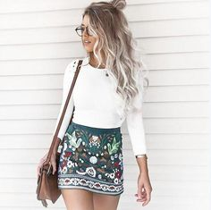 Short & Sexy, Casual, Printed, Mini, Skirt, S, M, L, XL, Trendy, Fashion, Super Short
