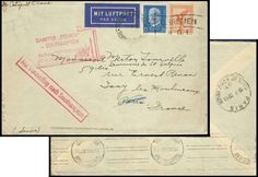 Germany, German Empire, Airmail 27. 09. 1931, catapult flight letter, from steamer Bremen to Southampton, forwarded to Paris (Michel. No. DR 381, 416, Haber 73c). Price Estimate (8/2016): 50 EUR. Unsold.