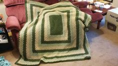Large granny rectangle Afghan for my boss Terry. She loved it! Another hit!