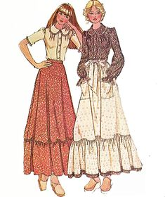 Early Pioneer Woman Skirt and Blouse. by TheOldLeaf on Etsy