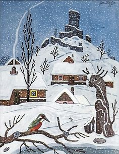 Prague, My Love: Happy Birthday, Josef Lada! Fairytale Fantasies, Snow Scenes, Naive Art, Illustrators, Folk Art, Fantasy Art, Cool Pictures, Illustration Art, Drawings