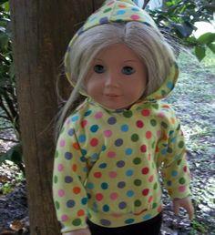 18 inch doll/AG doll hoodie cotton  lycra by GoodGollyMsDolly