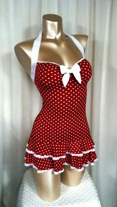 Polka Dot Mini Dress Sweetheart Neckline Double Ruffle Hem Halter Straps  Bombshell Sz  S\/M\/L on Etsy $70.00