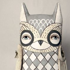 White Owl-- Original Contemporary Folk Art Doll-- Made to order within a week