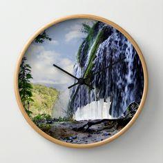 Waterfall in Croatia Wall Clock by helsch photography - $30.00