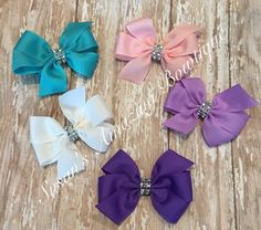10 various colors of glitzy pin wheel bows (your choice of colors) by susansamazingbows on Etsy