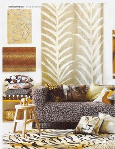 A Klippan sofa from IKEA with a Korall Brown/White by Bantie from the Bemz Designer Collection, featured in Allt i Hemmet nr 12 2012.