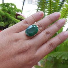Precious emerald solitaire ring - May birthstone jewelry gift for her #emeraldring