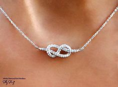 Infinity Necklace Diamond Pendant Necklace White Gold