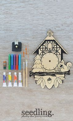 This sweet woodland Cuckoo Clock is all ready for you to add your own color, sparkle and personality.