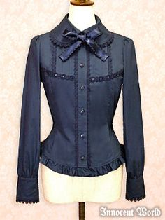 Innocent World Rose Lace Blouse Navy Small « Lace Market: Lolita Fashion Sales and Auctions