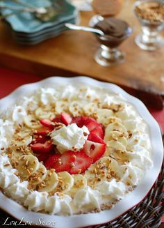 LouLou Sucre: Banana Split Pie with Pecan Graham Cracker Crust