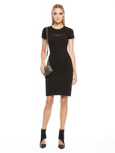 Luxe Ponte Shortsleeve Sheath Dress With Georgette Yoke Cutout And Knitted Twill Inserts With Exposed Back Zip #DKNY