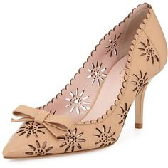 Kate Spade New York janina laser-cut leather pump (€270) ❤ liked on Polyvore featuring shoes, pumps, natural, kate spade shoes, kate spade, leather shoes, laser cut pumps and pointed toe shoes