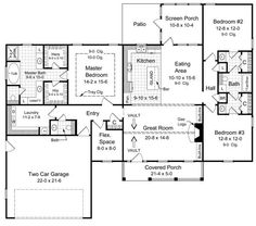 The Winchester 5744 - 3 Bedrooms and 2.5 Baths | The House Designers.  Like the lay out of the  Master bedroom.  Also like the bonus room location.  Good for an office.