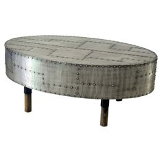 Aluminum coffee table with studded detail. Product: Coffee tableConstruction Material: AluminumColor: SilverDimensions: H x 39 W x 23 D Metal Furniture, Unique Furniture, Industrial Furniture, Contemporary Furniture, Furniture Design, Aviation Furniture, Aviation Decor, Contemporary Coffee Table, Industrial Table