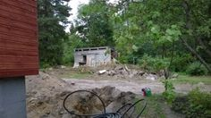 Excavating a drainage system for a southern Finland home under-going a complete renovation. Kitchen Cabinet Hardware, Finland, Home Remodeling, Southern, Patio, Vacation, Outdoor Decor, Vacations, Holidays Music