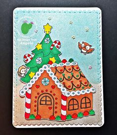 Craftin Desert Divas Christmas Card with Gingerbread Lane Digital Stamp