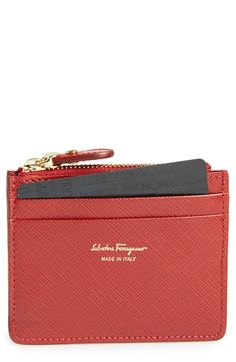 Salvatore Ferragamo Leather Card Case available at #Nordstrom