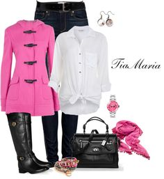 So Pretty, Blue Jeans, White Blouse, Pink jacket & scarf, black Boots & Purse