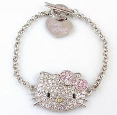 A style that's sure to make you smile. Hello Kitty's sterling silver bracelet features a charm of the iconic character in pave crystals and round-cut crystal stations for an extra touch of shimmer. Hello Kitty Keychain, Hello Kitty Jewelry, Hello Kitty Items, Cute Jewelry, Charm Jewelry, Jewlery, Hello Kitty Merchandise, Hello Kitty Characters, Hello Kitty Collection