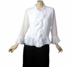 Amazon.co.jp: 1665フロントフリルペプラムブラウス・白    【M・L・LL】: 服&ファッション小物
