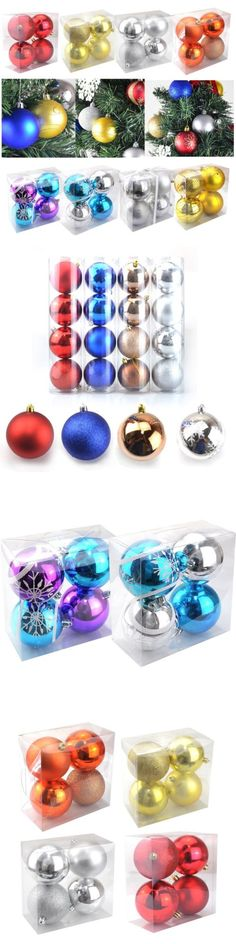 Christmas Decorations: 4Pcs Glitter Christmas Balls Baubles Xmas Tree Hanging Ornament Christmas Decor -> BUY IT NOW ONLY: $3.99 on eBay!