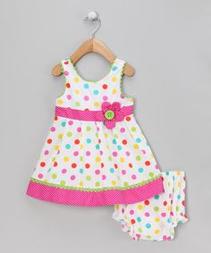 Take a look at this White & Fuchsia Polka Dot Dress & Diaper Cover - Infant & Toddler by Rare Editions on #zulily today!