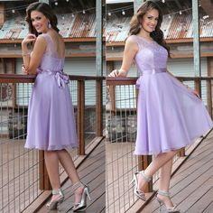 2015 Lavender Bridesmaid Dresses Knee Length Cheap Chiffon Bridesmaid Dress Vestido De Festa Party Dresses-in Bridesmaid Dresses from Weddings & Events on Aliexpress.com | Alibaba Group